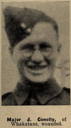 Portrait of Major Jack Conolly, Auckland Weekly News, 30 September 1942. Auckland Libraries Heritage Collections AWNS-19420930-18-12. Image has no known copyright restrictions.