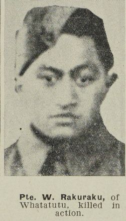 Portrait of Private Werewere Charu Rakuraku, Auckland Weekly News, 28 February 1945. Auckland Libraries Heritage Collections AWNS-19450228-26-10. Image has known copyright restrictions.