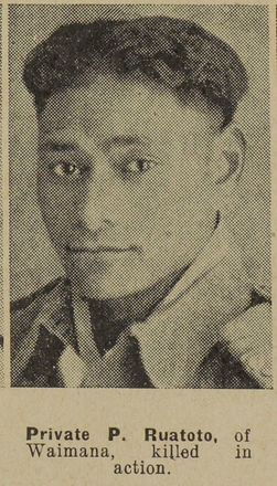 Portrait of Private Pita Te Ruatoto, Auckland Weekly News, 2 December 1942. Auckland Libraries Heritage Collections AWNS-19421202-22-39. Image has no known copyright restrictions.