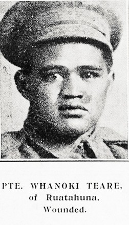 Portrait of Private Whanoki Teare, Auckland Weekly News, 28 September 1916. Auckland Libraries Heritage Collections AWNS-19160928-41-26. Image has no known copyright restrictions.
