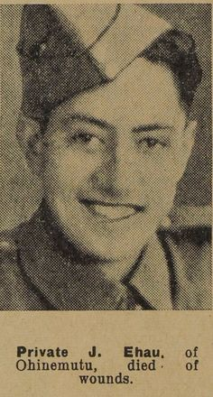 Portrait of Private James Ehau, Auckland Weekly News, 30 December 1940. Auckland Libraries Heritage Collections AWNS-19421230-23-15. Image has no known copyright restrictions.