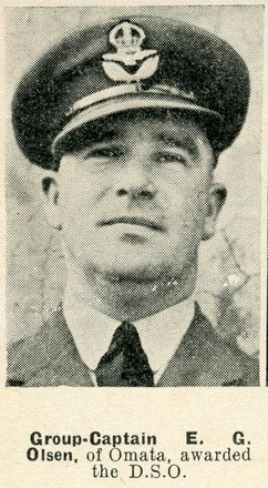 Portrait of Group Captain Edward George Olson, Auckland Weekly News, 5 May 1943.  Auckland Libraries Heritage Collections AWNS-19430505-19-1. Image has no known copyright restrictions.