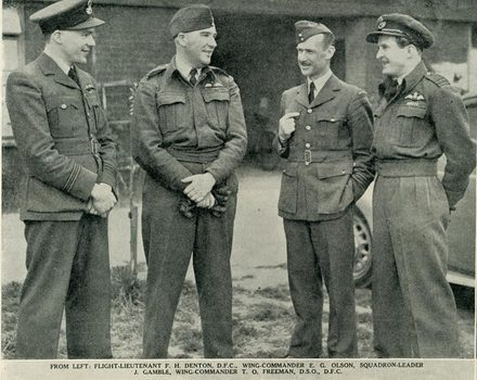 Photograph of Flight Lieutenant Frederick Harry Denton, Wing Commander Edward George Olson, Sqaudron Leader John Mathias Gamble and Wing Commander Trevor Owen Freeman, Auckland Weekly News, 1 July 1942. Auckland Libraries Heritage Collections AWNS-19420701-20-5. Image has no known copyright restrictions.
