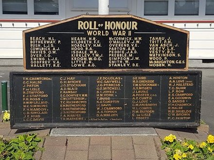 Mahora School Roll of Honour for World War Two. Image kindly provided by Chris Geddis (March 2020). Image subject to copyright restrictions.
