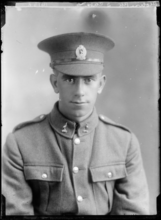 Crown Studios, Auckland. Studio portrait of a soldier. Hat and collar badges denote NZEF 22nd Reinforcements. Name from glass plate inscription: Private Probine. Historical note: Frederick Charles Probine. Service No. 38441. Private. NZEF 22nd Reinforcements, Auckland Infantry Regiment, A Company. (Source: Auckland War Memorial Museum, Cenotaph record). Auckland Libraries Heritage Collections 7003-514. No known copyright restrictions