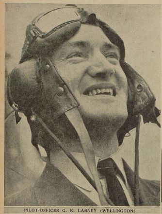 Pilot-Officer G. K. Larney of Wellington. Image kindly provided by Auckland Libraries Heritage Collections AWNS-19401120-34-1. Image has no known copyright restrictions.