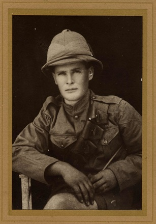 "Portrait of Gunner Cornelius Frederick Bowe, c.1915. Inscription on reverse reads: ""Gunner C F Bowe Heavy Trench Mortar Battery N Z F A Killed in action April 5 1917 Service in Gallipoli and France 'Duty Nobly Done' "". Foxton Historical Society, Kete Horowhenua. Image is subject to copyright restrictions."