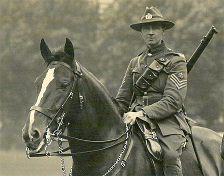 Portrait of Staff Sergeant John William O'Brien in dress uniform on horseback in England, 1916. Kete Tauranga, Tauranga City Libraries. Image is subject to copyright restrictions.