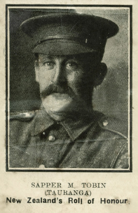 Portrait of Sapper Michael Tobin, 'New Zealand's Roll of Honour'. Kete Tauranga, Tauranga City Libraries. Image is subject to copyright restrictions.