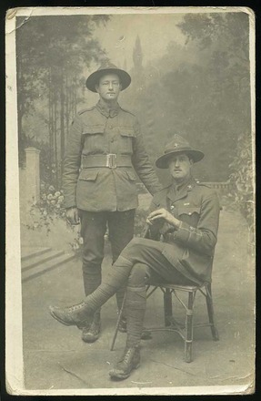 Postcard portrait of Allan Farquhar (seated) and Alexander (Alex) Farquhar, 20 April 1918. Image courtesy of D. Loomes, SCRoll Project, South Canterbury Museum. Image is subject to copyright restrictions.