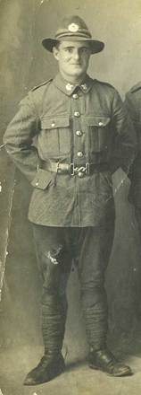 Closeup image of Arthur George Curtis, c.1917. Image courtesy of P. Bishop, SCRoll Project, South Canterbury Museum. Image is subject to copyright restrictions.