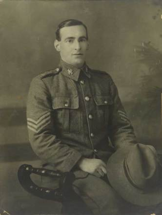 Portrait of Sergeant Alexander (Alex) Bennington. SCRoll Project, Waimate Museum & Archives 2002-1026-03535. Image is subject to copyright restrictions.