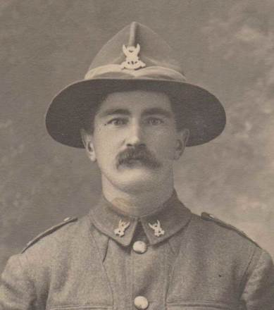 Closeup image of Peter Allan. Image courtesy of the  Unknown Warriors of the NZEF Facebook page/SCRoll Project, South Canterbury Museum. Image is subject to copyright restrictions.