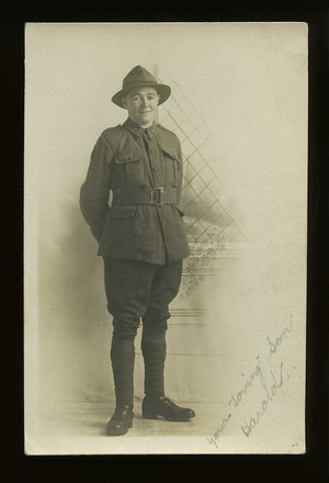 Portrait of Harold George Traves, 'taken in Halifax England in 1917 and sent home to his parents.' Image courtesy of W. Traves. South Canterbury Museum, L2014/005.02.  Image is subject to copyright restrictions.