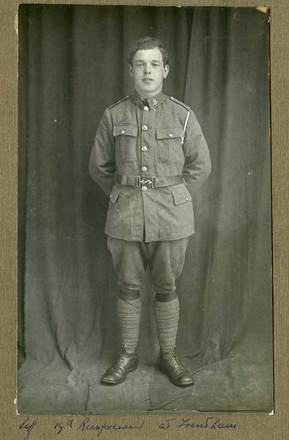Portrait of Duncan Menzies, c.1916. 'Taken while with the 10th Reinforcements at Trentham, NZ.' Image courtesy of J. Thin and I. Menzies, SCRoll Project, South Canterbury Museum. Image is subject to copyright restrictions.