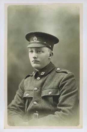 Portrait of Edward James (Jim) Gould. 'Presumably taken before his departure in September 1916. Jim was killed in action on 4 September 1918 in France.' Image courtesy of R. Hobbs, South Canterbury Museum, L2013/007.01. Image is subject to copyright restrictions.