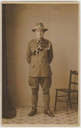 Portrait of Alfred John (Alf) Caswell. Image courtesy of the family of Charles Edward Caswell, SCRoll Project, South Canterbury Museum. Image is subject to copyright restrictions.