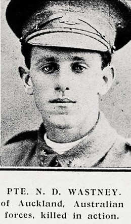 Portrait of Private Nolan Dyson Wastney, Auckland Weekly News, 24 May 1917. Auckland Libraries Heritage Collections AWNS-19170524-41-3. Image has no known copyright restrictions.