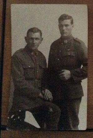 """Portrait of brothers George and Colin McOnie. Geordie (George) McOnie standing Colin McOnie sitting. Image kindly provided by Julie Dovaston (April 2020). Image has no known copyright restrictions."