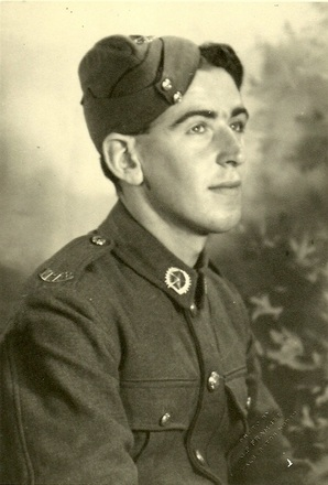 Portrait of Private Alan John Pinfold in army uniform with Ruahine Regiment collar badge, c.Second World War. Image kindly provided by Christone Pinfold (April 2020). Image may be subject to copyright restrictions.