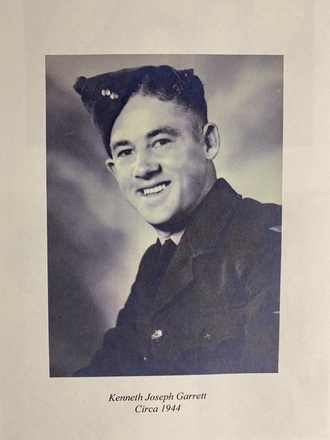 Portrait of Leading Aircraftman Kenneth Joseph Garrett, c.1944. Image kindly provided by Rhona Pike (May 2020). Image may be subject to copyright restrictions.