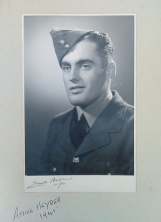 Portrait of Athol Victor Heyder circa 1941. Image kindly provided by Karen Queree (May 2020). Image may be subject to copyright restrictions.