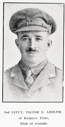 Portrait of Second Lieutenant Victor Emiel Adolph, Auckland Weekly News, 18 April 1918. Auckland Libraries Heritage Collections AWNS-19180418-41-2. Image has no known copyright restrictions.