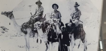 Photograph of three soliders in front of Pyramids from Left to Right: Ronald Jameson, James Renall and Jack Ayton. Image kindly provided by Gillian Conroy (May 2020). Image has no known copyright restrictions.