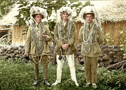 Photograph of the New Zealand officers of the Rarotongan Company after being formally welcomed onto the island, March 1919. From left to right, Lieutenant Bertram Gibbons, Captain George Arthur Bush and Lieutenant Bartholomew Tangney. Original image kindly provided by the Sedon family and the colourised photograph kindly provided by Bobby Nicholas, Paula Paniani and Cate Walker, Cook Islands WW1 NZEF ANZAC Soldiers Research Project. Image may be subject to copyright restrictions.