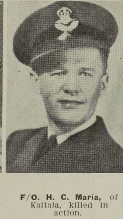 Flying Officer Hector Copeland Maria of Kaitaia, killed in action. Image kindly provided by  Auckland Libraries Heritage Collections AWNS-19451003-26-18. Image has no known copyright restrictions