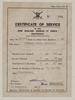 Certificate of service. Francis Harry Edgerton - Photograph album, 1945-1955, Auckland Museum Tāmaki Paenga Hira. PH-2016-15 p.1. Image may be subject to copyright.