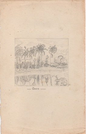 Sketch of Oasis possibly attributed to M. Foster (1943). Image from the collection of James Herbert Golding Alp (30991). Image kindly provided by Barbara Alp.