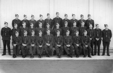 Group. Pilots course 12A, No. 1 Service Flying Training School, RNZAF Station Wigram. L-R: Back; WV Eunson, J Badcock, TL Bowker, WA Fergie, CD Dobson, HW Millard, FS Penman, VE Meaclam, GA Hutt, CJ Fraser. Middle; JW Chapman, JA Froggatt, OR Cooper, DL Clow, AG Craig, VP Cummock, SH Manning, WR King, HJ Lorimer, BD Stringer, W Kennedy, FS Johnstone, AJ MacGregor. Front; WJ Barnes, JS Bergin, EW Cox, FW Davidson, AL Ellis, JN Williams, SG Horner, WJ Greenhalgh, WJN McIntosh. Image kindly provided by Royal New Zealand Air Force Museum, MUS970513. Image subject to Crown Copyright, 1941