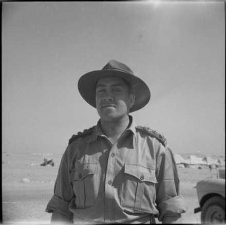 Portrait of Captain Reverend Wi Te Tau Huata in Egypt during the Second World War. Taken by George Robert Bull, 21 August 1943. Alexander Turnbull Library, Wellington, DA-04461-F. Image is subject to copyright restrictions.