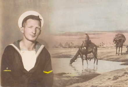 Image of Able Seaman Alfred Trevor Barton with Egypt in the background. Image kindly provided by Janine Buckleton-Reid (July 2020). Image is subject to copyright restrictions.
