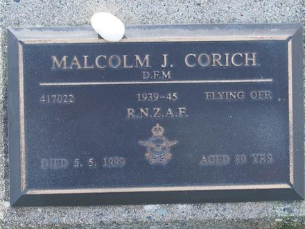 Gravestone of Flying Officer Malcolm Corich, Orowaiti Cemetery, Westport. Image kindly provided by John Forrest (July 2020). Image is subject to copyright restrictions.