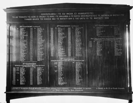 Roll of honour, listing World War 1 soldiers from the Cook Islands, courthouse, Avarua, Rarotonga, Cook Islands. Ref: 1/1-006730-G. Alexander Turnbull Library, Wellington, New Zealand. /records/23180172