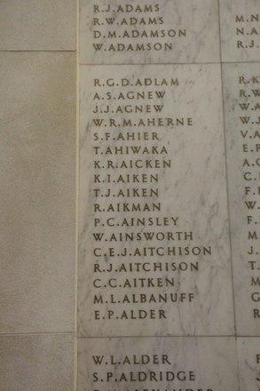 Auckland War Memorial Museum, World War II Hall of Memories Panel  A_002. Image taken June 2020.