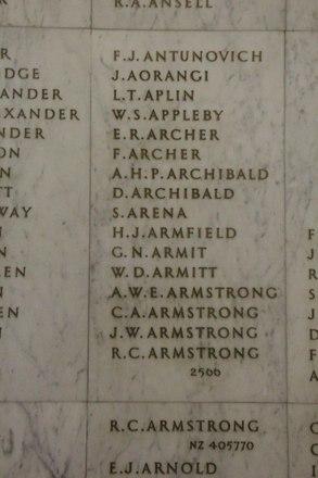 Auckland War Memorial Museum, World War II Hall of Memories Panel  A_008. Image taken June 2020.
