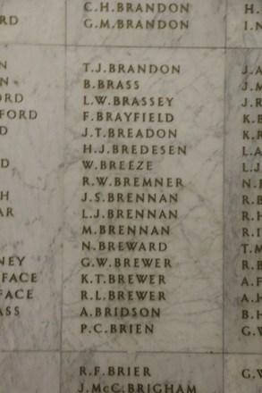 Auckland War Memorial Museum, World War II Hall of Memories Panel  B_020. Image taken June 2020.