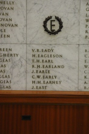 Auckland War Memorial Museum, World War II Hall of Memories Panel  E_001. Image taken June 2020.