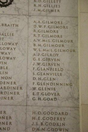 Auckland War Memorial Museum, World War II Hall of Memories Panel  G_006. Image taken June 2020.