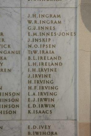 Auckland War Memorial Museum, World War II Hall of Memories Panel  I_002. Image taken June 2020.