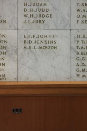 Auckland War Memorial Museum, World War II Hall of Memories Panel  J_010. Image taken June 2020.