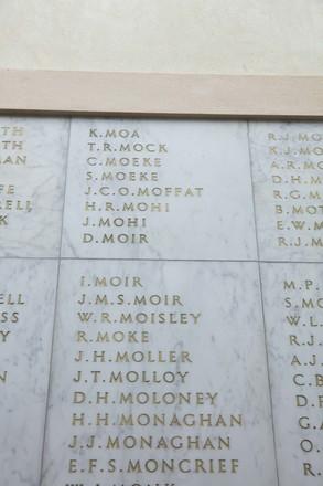 Auckland War Memorial Museum, World War II Hall of Memories Panel  M_034. Image taken June 2020.