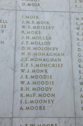 Auckland War Memorial Museum, World War II Hall of Memories Panel  M_035. Image taken June 2020.