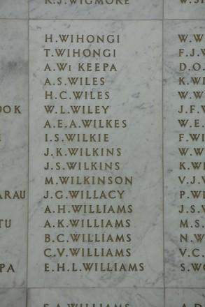 Auckland War Memorial Museum, World War II Hall of Memories Panel  W_017. Image taken June 2020.