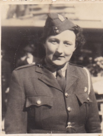 Photograph of Elizabeth Alberta (Betty) Lowe, Women's Auxiliary Army Corps, in dress uniform, c.Second World War. Image kindly provided by Dorothy Dando (September 2020).