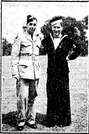 'SHIRLEY AIR TRAINEES MEET AT TORONTO.—LEFT: Sergeant Observer Jack Hyde, R.N.Z.A.F., and Sub-Lieutenant William Ogston, Fleet Air Arm, meet at Toronto while training in Canada. Both trainees attended Shirley School and lived in Chancellor street.' The Press, 6 February 1943.