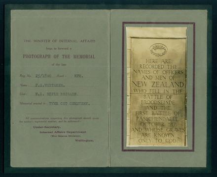Passchendaele Memorial card : 25/1840 Rifleman Frank Silk Whitaker, NZRB, WW1 [1995x2.403.1]